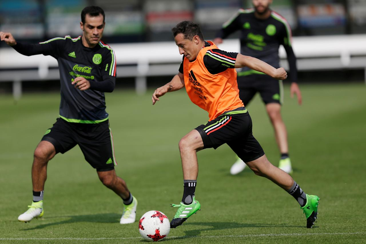 Football Soccer - Mexico v Croatia - International Friendly - in Mexico City, Mexico - 23/5/17 Mexico's Andres Guardado (R), and Rafale Marquez, train ahead of their international friendly. REUTERS/Carlos Jasso