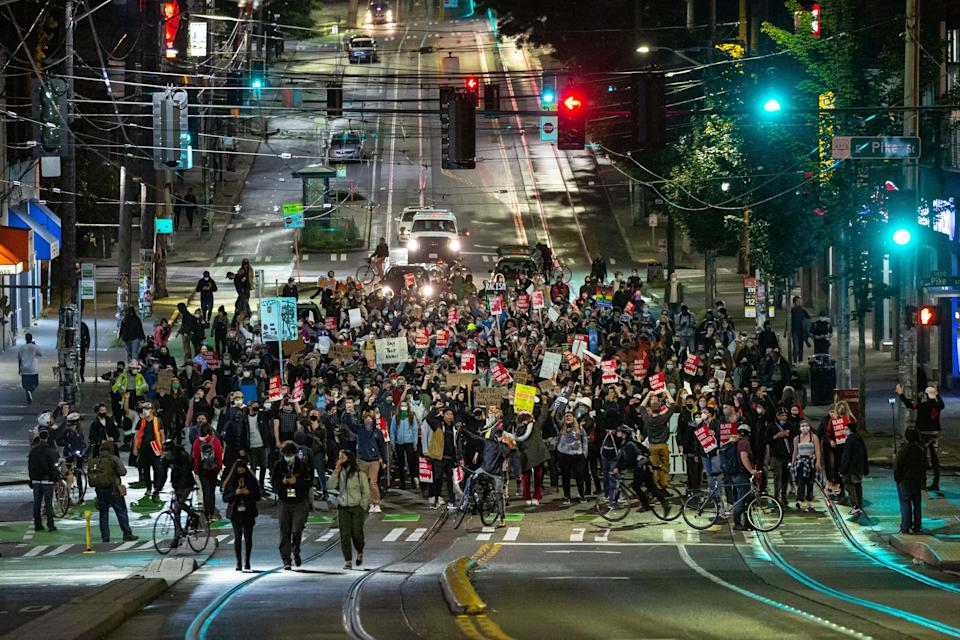 Sawant joined protesters outside a Seattle police station amid 2020 racial justice demonstrations (Getty Images)