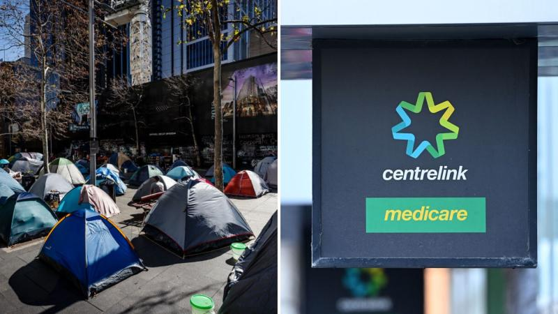 Pictured: Martin Place tent city was a symbol of Australia's homelessness problem, Centrelink sign. Images: Getty