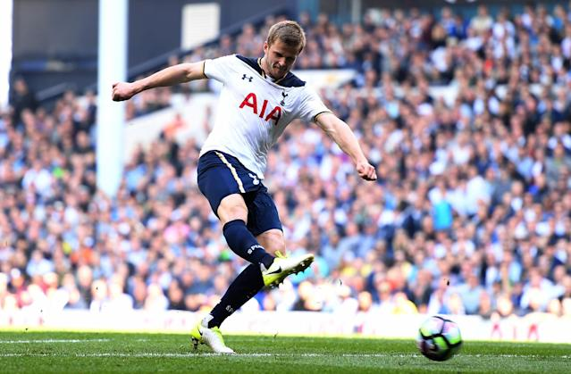 <p>Eric Dier hammers home Tottenham's second goal </p>