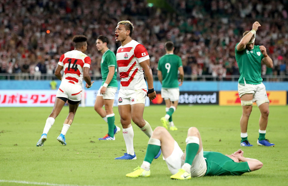 "The upset of the World Cup so far saw Japan beat Ireland 19 - 12, and Cameron Spencer (Getty Images) captured the joy and dejection. ""Japan were seconds away from the shock result. With this in mind I was focusing on the nearest Japanese player to me which was Lomano Lava Lemeki...I used my EF 70-200mm f/2.8L IS II USM so that I had full control of the composition of the image with my zoom."""
