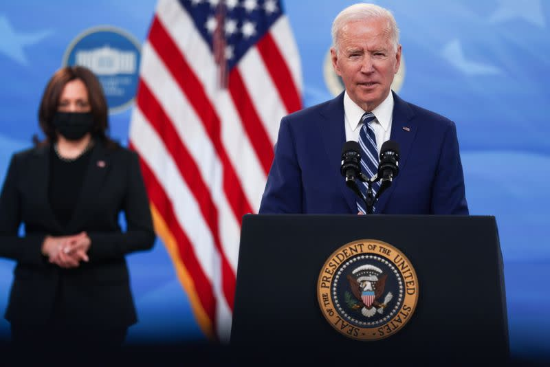 U.S. President Biden delivers remarks after a meeting with his COVID-19 Response Team at the White House campus in Washington