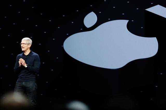 Apple Chief Executive Officer Tim Cook speaks at the Apple Worldwide Developer conference in San Jose, California, U.S., June 4, 2018. REUTERS/Elijah Nouvelage