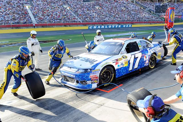 CONCORD, NC - MAY 27: Matt Kenseth, driver of the #17 Fastenal Ford, pits during the NASCAR Sprint Cup Series Coca-Cola 600 at Charlotte Motor Speedway on May 27, 2012 in Concord, North Carolina. (Photo by John Harrelson/Getty Images for NASCAR)