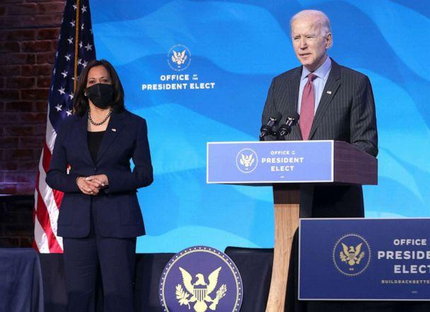 PHOTO: Vice President-elect Kamala Harris and U.S. President-elect Joe Biden field questions from reporters in Wilmington, Del., Jan. 8, 2021. (Chip Somodevilla/Getty Images. FILE)