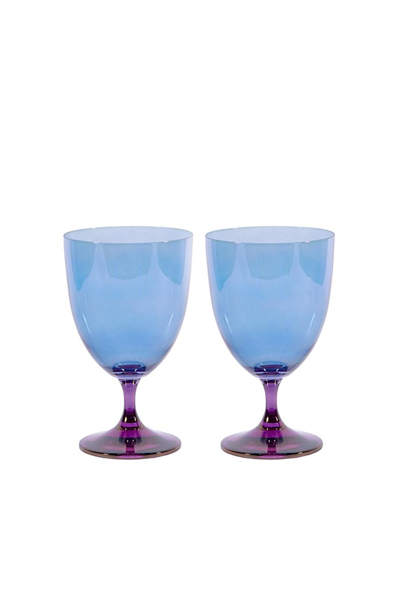 Luisa Beccaria x Artemest Fleury purple-to-blue wine glasses; $210 for a set of two. artemest.com
