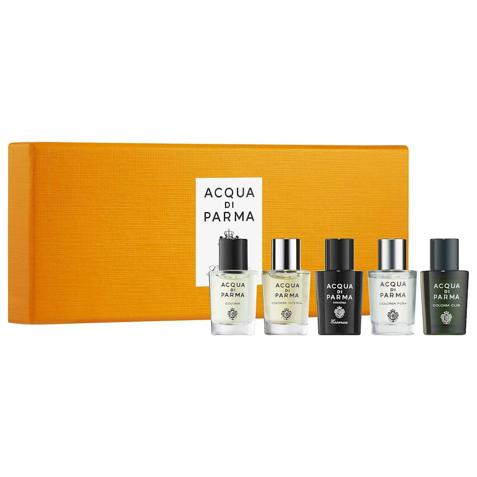 """<p><strong>Acqua Di Parma</strong></p><p>sephora.com</p><p><strong>$72.00</strong></p><p><a href=""""https://go.redirectingat.com?id=74968X1596630&url=https%3A%2F%2Fwww.sephora.com%2Fproduct%2Fcolonia-miniature-set-P443400&sref=https%3A%2F%2Fwww.seventeen.com%2Flife%2Ffriends-family%2Fg27570560%2Fgifts-for-dad%2F"""" rel=""""nofollow noopener"""" target=""""_blank"""" data-ylk=""""slk:Shop Now"""" class=""""link rapid-noclick-resp"""">Shop Now</a></p><p>Between these five luxury scents, hugs from Dad will be even <em>more</em> special. </p>"""