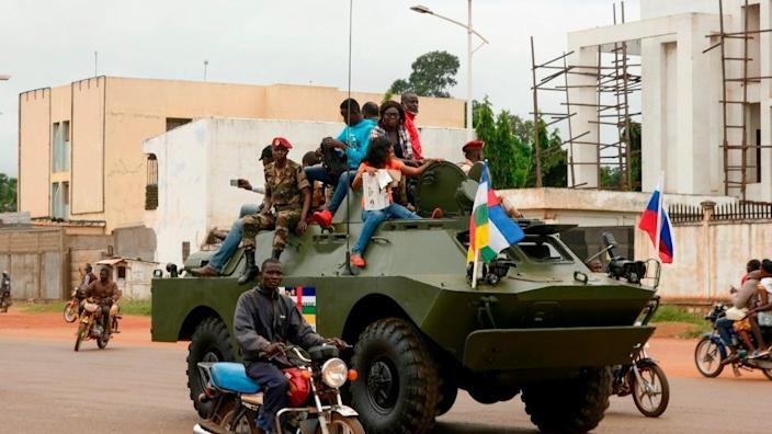 A Russian aircraft carrier (APC) is seen driving on the street during the delivery of armored vehicles to the army of the Central African Republic in Bangui