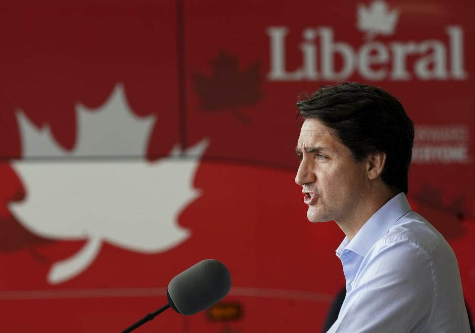 """<span class=""""caption"""">Liberal Leader Justin Trudeau makes a stop in an airplane hangar during the Canadian federal election campaign in Mississauga, Ont. </span> <span class=""""attribution""""><span class=""""source"""">THE CANADIAN PRESS/Nathan Denette </span></span>"""