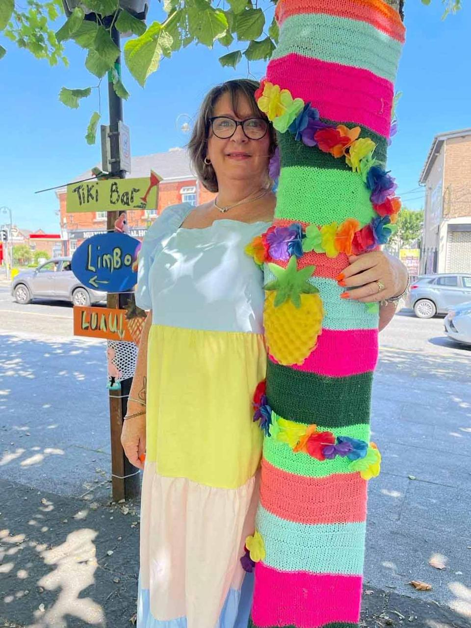 Monica with one of the tropical tree knits (Collect/PA Real Life).