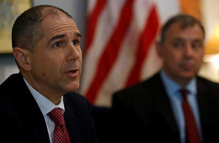 U.S. Assistant Secretary of State of the Bureau of Consular Affairs Carl Risch speaks during a news conference in Phnom Penh, Cambodia February 9, 2018. REUTERS/Samrang Pring