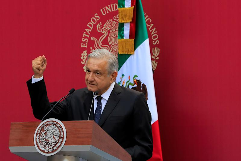 Mexico's President Andres Manuel Lopez Obrador gestures during a meeting with the Mexican delegation competing at the Pan American Games Lima 2019, in Mexico City, Mexico, July 15, 2019. REUTERS/Carlos Jasso