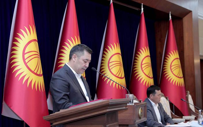 Kyrgyzstan's new Prime Minister Sadyr Japarov speaks during a meeting of the Supreme Council at the Ala Archa State Residence in Bishkek - Anadolu Agency /Anadolu