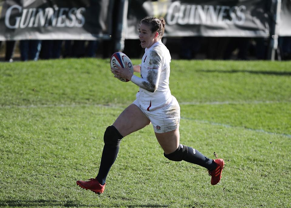 Stand-in skipper Emily Scarratt is hoping to lead England to a third successive Women's Six Nations title when they face France in the 2021 final this weekend © Action Images via Reuters