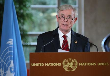 Horst Koehler, Personal Envoy of the Secretary General of the United Nations to the parties to the conflict in Western Sahara, attends a news conference after a roundtable at the United Nations in Geneva, Switzerland, December 6, 2018.  REUTERS/Denis Balibouse