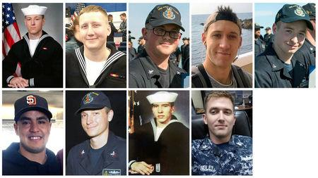 (from L to R, top) Electronics Technician 3rd Class Kenneth Aaron Smith, Interior Communications Electrician 3rd Class Logan Stephen Palmer, Electronics Technician 3rd Class John Henry Hoagland III, Electronics Technician 3rd Class Dustin Louis Doyon, Electronics Technician 3rd Class Jacob Daniel Drake, (from L to R, bottom) Information Systems Technician 2nd Class Timothy Thomas Eckles Jr., Electronics Technician 2nd Class Kevin Sayer Bushell, Interior Communications Electrician 1st Class Abraham Lopez and Electronics Technician 1st Class Charles Nathan Findley.  U.S. Navy/via REUTERS