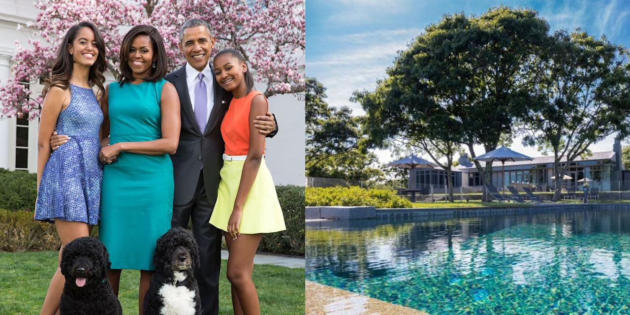 """<p>From 2009 to 2011, the Obama family took to Martha's Vineyard for their much-needed vacation time. While on the island, they stayed in the <a href=""""https://www.toptenrealestatedeals.com/homes/weekly-ten-best-home-deals/2018/08-16-2018/1/"""" target=""""_blank"""">Blue Heron Farm in Chilmark Pond</a>, a secluded property on 9.5 acres of land.</p><p>Built in 1961, the house was fully renovated by architect Rick Sunderberg and landscape architect Steve Stimson in 2006, and features a boat dock, infinity pool, basketball court, and pond. Inside are six bedrooms, seven baths, a chef's kitchen, three fireplaces, and a guest house (for Secret Service or your in-laws). Floor-to-ceiling windows look out on expansive ocean views. <br><br>The house was put on the market for $22.5 million towards the end of the Obama presidency, and over time, the selling price was dropped of $15 million. The buyer was Menemshovitz Realty Trust.</p>"""