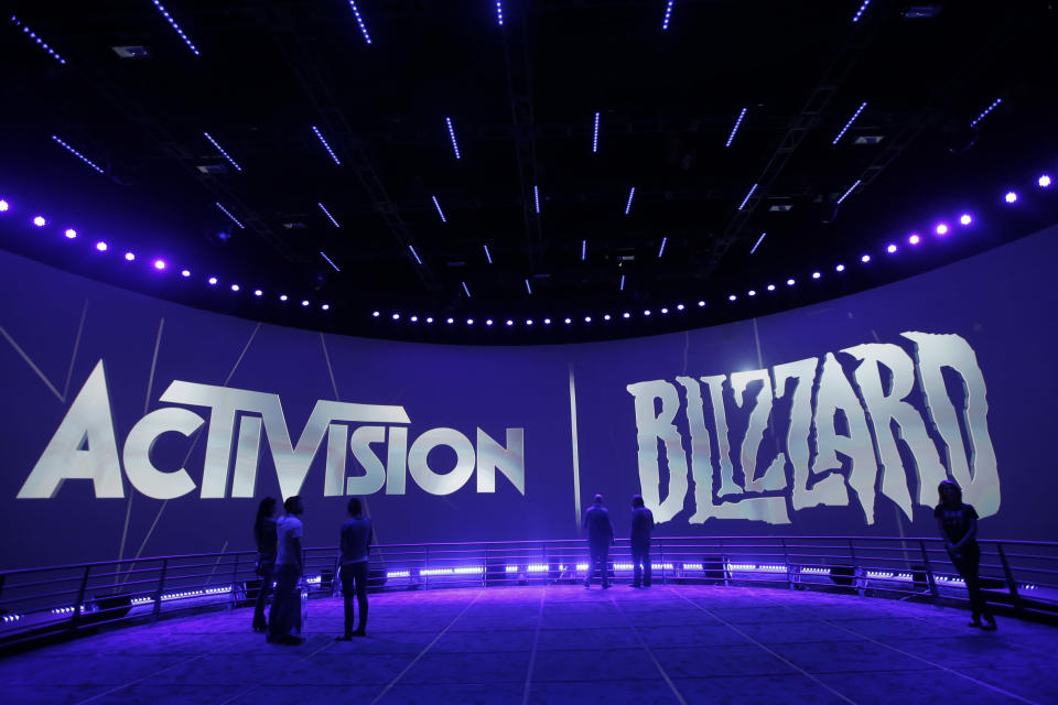 FILE – This June 13, 2013, file photo shows the Activision Blizzard Booth during the Electronic Entertainment Expo in Los Angeles. Technology companies are on track to reach all-time highs soon, and Activision Blizzard is one of the leaders among technology stocks in 2017. (AP Photo/Jae C. Hong, File)