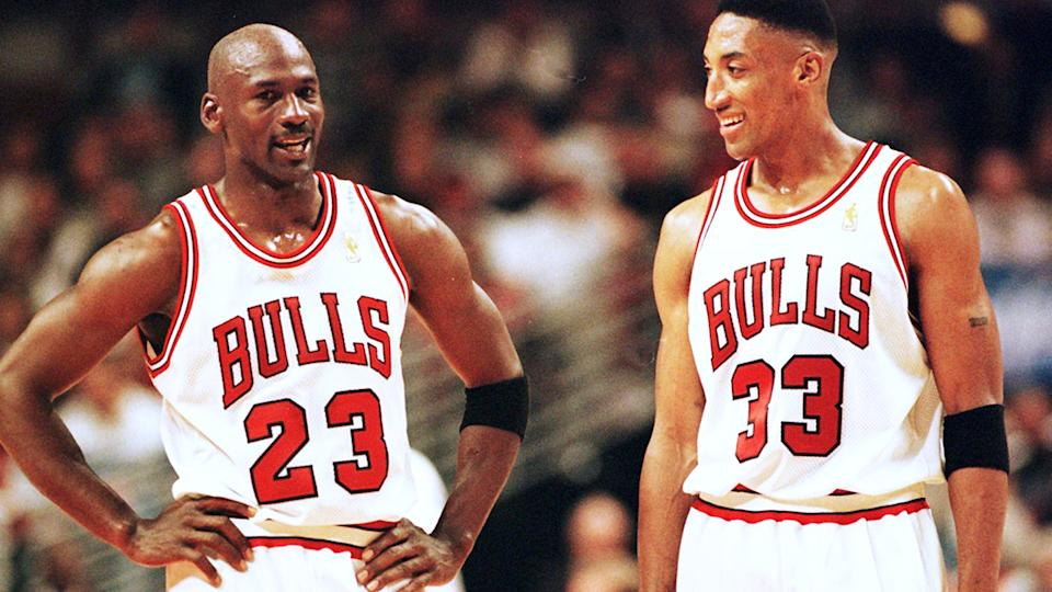 Michael Jordan and Scottie Pippen, pictured here in action for the Chicago Bulls during their dynasty of the 1990s.