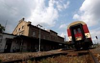 A train is seen at Bubny railway station in Prague