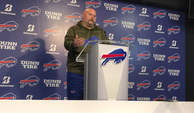 "Buffalo Bills offensive coordinator Brian Daboll addresses the media at the team's headquarters on Monday, Nov. 18, 2019, a day following a 37-20 win over the Miami Dolphins. Daboll turned heads by sporting a new look, in which he shaved off his beard and grew a moustache. Daboll joked the switch had nothing to do with the Bills posting season highs in points and yards offense (424). Noting his wife doesn't like the moustache, Daboll laughed when asked if he expects to keep it, by saying: ""I sleep next to my wife every night, so you never know when you wake up."" (AP Photo/John Wawrow)"