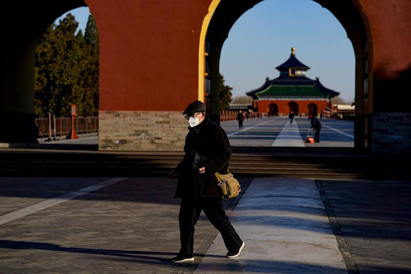 BEIJING, CHINA - MARCH 04: A Chinese man wearing a protective facemask, as he visits a Tiantan park in Beijing on February 29, 2020 in Beijing, China. (Photo by Fred Lee/Getty Images)