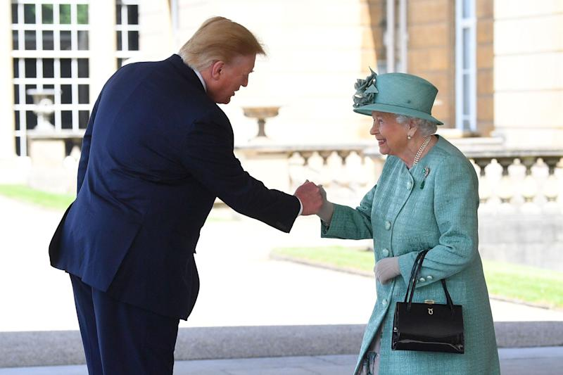 LONDON, ENGLAND - JUNE 03: U.S. President Donald Trump is greeted by Queen Elizabeth II at Buckingham Palace on June 3, 2019 in London, England. President Trump's three-day state visit will include lunch with the Queen, and a State Banquet at Buckingham Palace, as well as business meetings with the Prime Minister and the Duke of York, before travelling to Portsmouth to mark the 75th anniversary of the D-Day landings. (Photo by Victoria Jones - WPA Pool/Getty Images)