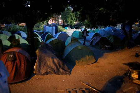 FILE PHOTO:  Tents where migrants live are seen in the downtown of Nantes