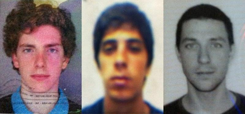 This combination of passport photos provided by Chile's ONEMI or regional emergency office, shows from left to right, Gillhem Bellon, 25, of France; Luca Ogliengo, 25, of Italy; and Dmitry Sivenkov, 32, of Russia, three European tourists hiking around the Villarica volcano in Chile's central valley, who haven't been heard from since Wednesday evening, Nov. 7, 2012 . Teams led by special police and the Andean Aid Team have been sweeping the area around the Villarica volcano in Chile's central valley since Thursday morning.  Ogliengo's family has rented a private helicopter to join the search. (AP Photo/Chile's ONEMI)