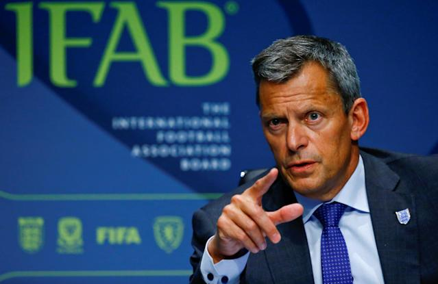 CEO Martin Glenn of the Football Association addresses a news conference after the 132nd Annual Meeting of the IFAB REUTERS/Arnd Wiegmann