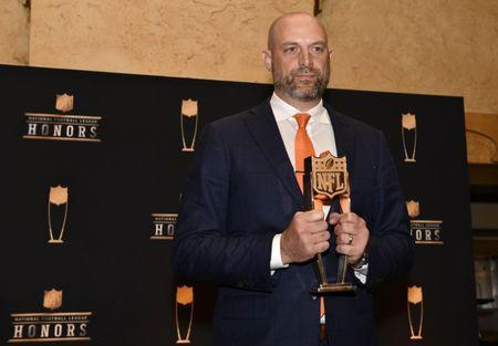 Feb 2, 2019; Atlanta, GA, USA; Coach of the Year winner Matt Nagy of the Chicago Bears during media availabilities for the NFL Honors show at the Fox Theatre. Mandatory Credit: Dale Zanine-USA TODAY Sports