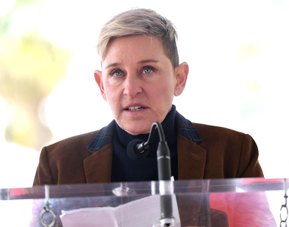 Ellen DeGeneres speaks as Pink is honored with a star on The Hollywood Walk Of Fame on February 05, 2019 in Hollywood, California.