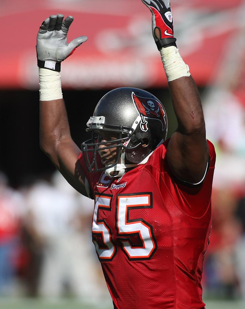 FILE - In this Dec. 28, 2008, file photo, Tampa Bay Buccaneers linebacker Derrick Brooks reacts during an NFL football game against the Oakland Raiders in Tampa, Fla. Brooks twetted that he's been elected to the Pro Football Hall of Fame Saturday, Feb. 1, 2014. (AP Photo/Reinhold Matay, File)