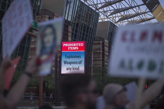 <p>A sign outside the Phoenix Convention Center declares items that are prohibited inside as anti-Trump protesters gather outside a rally by President Donald Trump on August 22, 2017 in Phoenix, Arizona. (David McNew/Getty Images) </p>