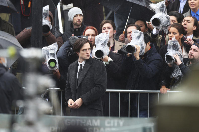 Actor Robert Pattinson during filming of The Batman outside St George's Hall in Liverpool, Monday Oct. 12, 2020. (Peter Byrne/PA via AP)
