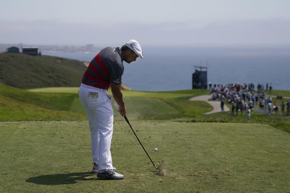 Bryson DeChambeau plays his shot from the third tee during the first round of the U.S. Open Golf Championship, Thursday, June 17, 2021, at Torrey Pines Golf Course in San Diego. (AP Photo/Jae C. Hong)