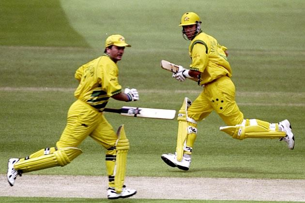 Steve and Mark Waugh of Australia running between the wickets in the World Cup Super Six match against Zimbabwe at Lord's in London. Australia won by 44 runs. Craig Prentis /Allsport