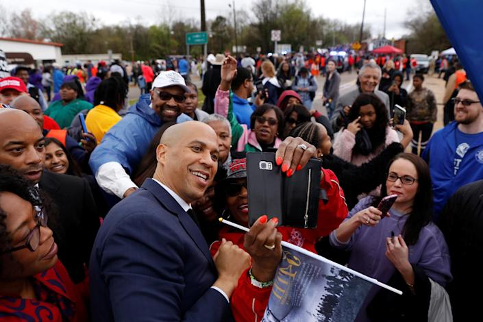 Sen. Cory Booker with supporters in Selma, Ala. (Photo: Chris Aluka Berry/Reuters)
