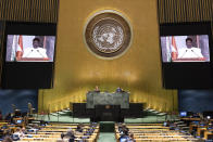 In this photo provided by the United Nations, Mahamadou Issoufou, President of Niger, speaks in a pre-recorded message which was played during the 75th session of the United Nations General Assembly, Thursday, Sept. 24, 2020, at U.N. headquarters in New York. (Eskinder Debebe/United Nations via AP)