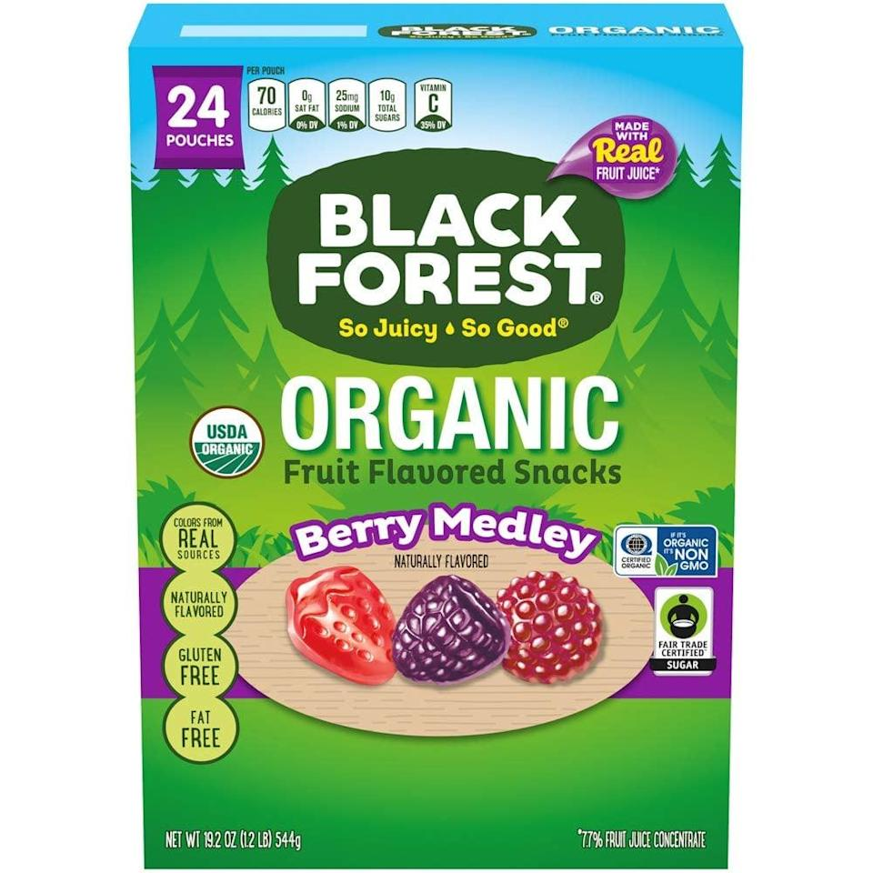 <p>Fruit-lovers will enjoy having these juicy <span>Black Forest Organic Fruit Snacks</span> ($12).</p>