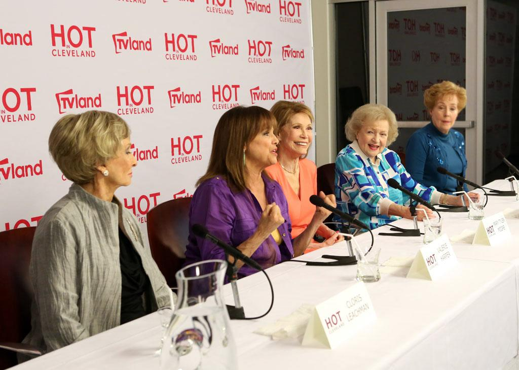 "Today, cast members from ""The Mary Tyler Moore Show"" reunited with co-star Betty White at a press conference for an upcoming episode of TV Land's sitcom ""Hot in Cleveland."""