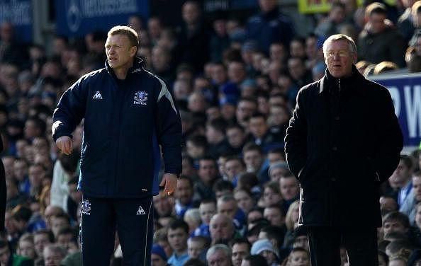 Sir Alex Ferguson with David Moyes during their time as managers of Everton and Manchester United