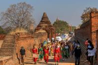 Rally against the military coup in the ancient city of Bagan
