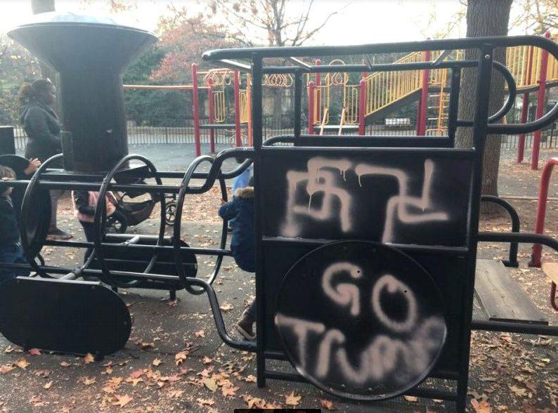 """A Brooklyn park dedicated to Beastie Boys' late member Adam Yauch was vandalized with swastikas and graffiti reading """"Go Trump"""" on Friday, November 18 — read more"""