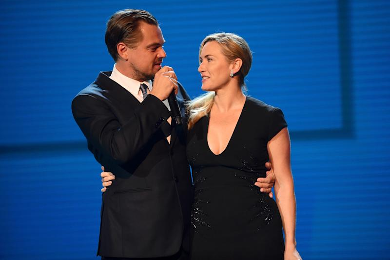 SAINT-TROPEZ, FRANCE - JULY 26: Kate Winslet and Leonardo DiCaprio are seen on stage during the Leonardo DiCaprio Foundation 4th Annual Saint-Tropez Gala at Domaine Bertaud Belieu on July 26, 2017 in Saint-Tropez, France. (Photo by Anthony Ghnassia/Getty Images for LDC Foundation)