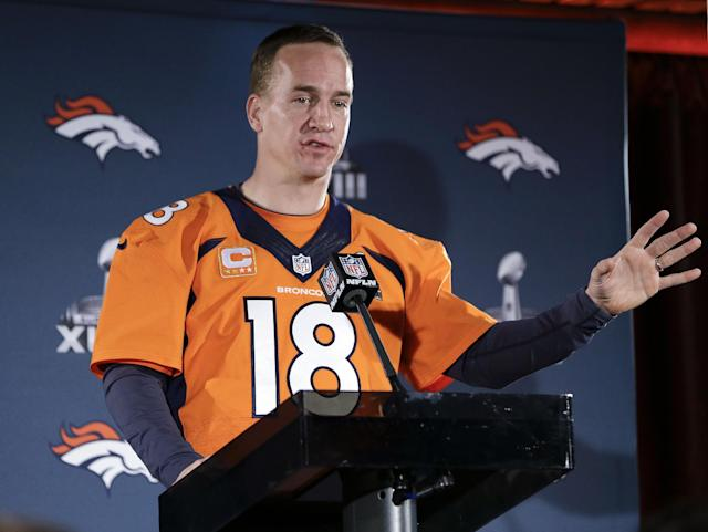 Denver Broncos quarterback Peyton Manning talks with reporters during a news conference Thursday, Jan. 30, 2014, in Jersey City, N.J. The Broncos are scheduled to play the Seattle Seahawks in the NFL Super Bowl XLVIII football game Sunday, Feb. 2, in East Rutherford, N.J. (AP Photo)
