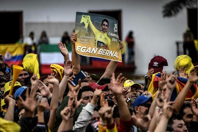 Around 10,000 fans turned up to welcome home Colombia's Tour de France winner Egan Bernal after his historic achievement (AFP Photo/JUAN BARRETO)