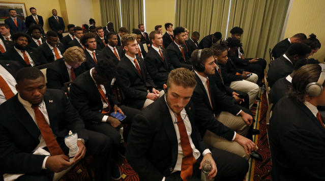 Members of the Texas Longhorns football team attend a meeting prior to the game against the LSU Tigers Saturday Sept. 7, 2019 at the team hotel in Austin, Tx. ( Photo by Edward A. Ornelas )