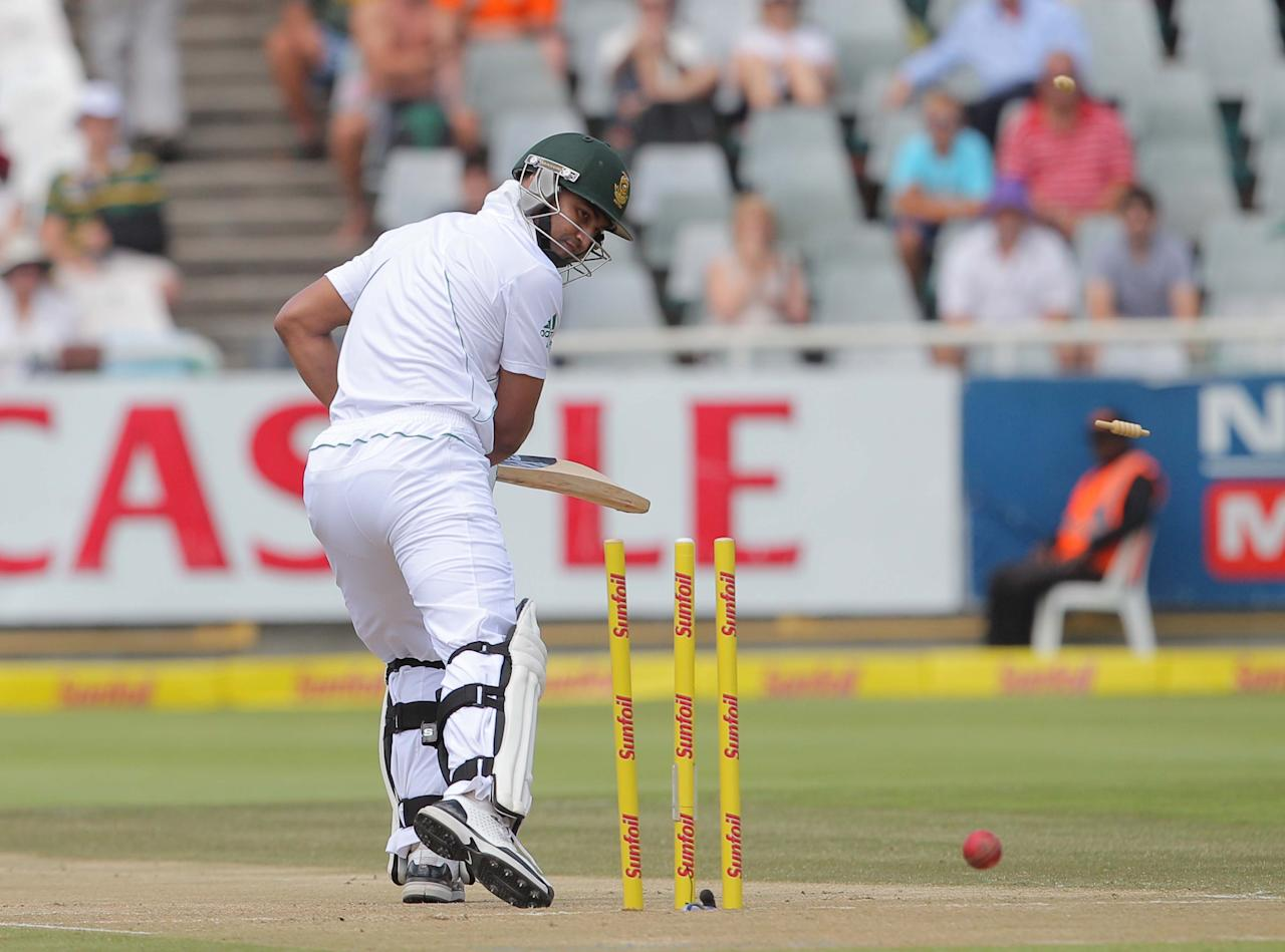 CAPE TOWN, SOUTH AFRICA - JANUARY 03: Alviro Petersen of the Proteas bowled by Trent Boult of the Black Caps during day 2 of the 1st Test between South Africa and New Zealand at Sahara Park Newlands on January 03, 2013 in Cape Town, South Africa. (Photo by Carl Fourie/Gallo Images/Getty Images)