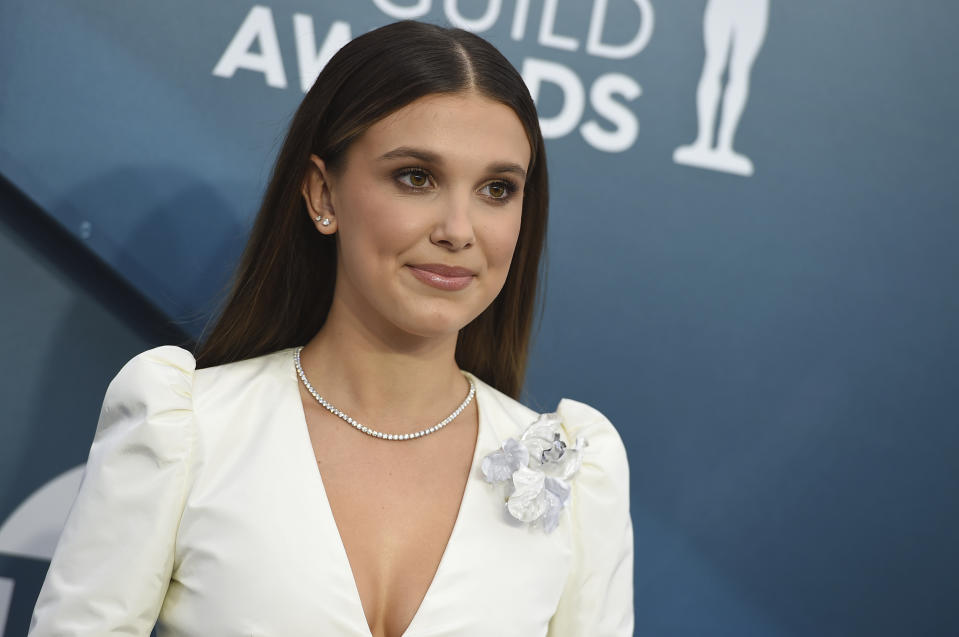 Millie Bobby Brown arrives at the 26th annual Screen Actors Guild Awards at the Shrine Auditorium & Expo Hall on Sunday, Jan. 19, 2020, in Los Angeles. (Photo by Jordan Strauss/Invision/AP)